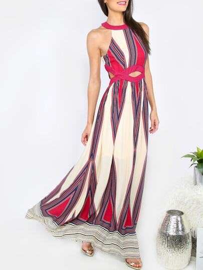 Multicolor Print Cut Out Waist Sleeveless Maxi Dress