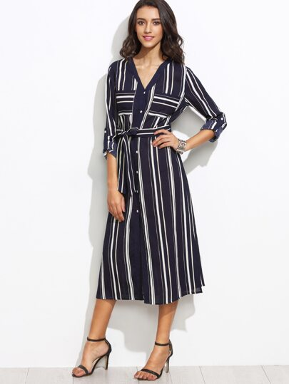 Navy Vertical Striped Roll Tab Sleeve Self Tie Shirt Dress