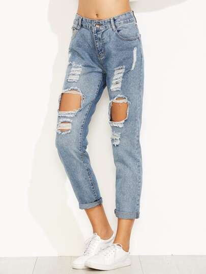 Blue Distressed Ripped Cuffed Jeans
