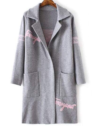 Grey Letter Print Shawl Collar Pocket Long Sweater Coat