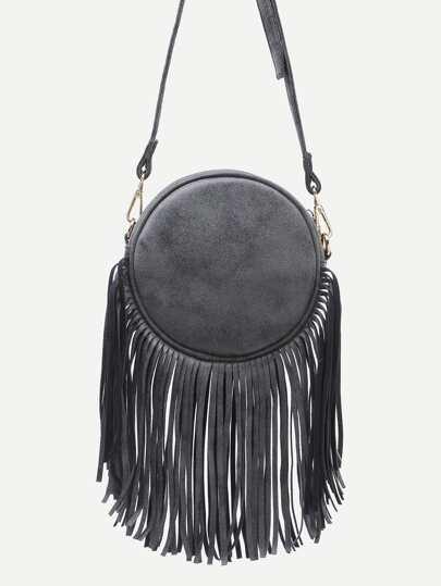 Black Fringe Zip Pockets Round Crossbody Bag