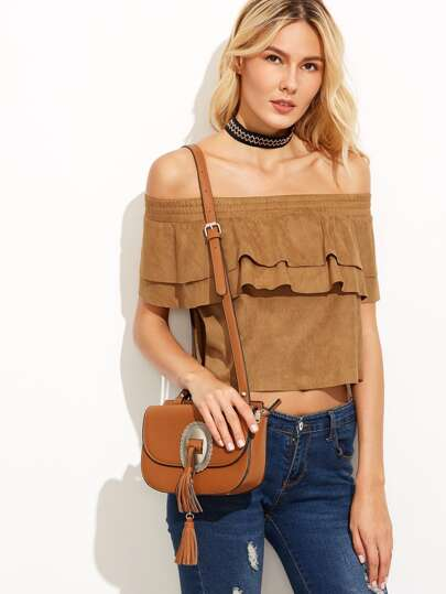 Camel Suede Off The Shoulder Layered Ruffle Top
