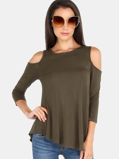 Sleeved Cold Shoulder Tank OLIVE