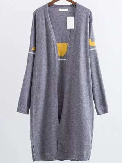 Grey Eyes Patterned Collarless Side Slit Long Cardigan