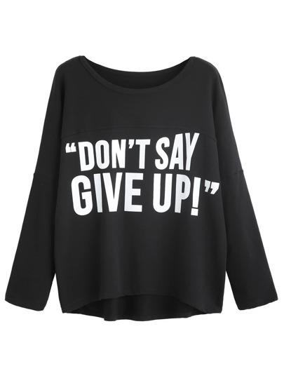 Black Slogan Print Drop Shoulder T-shirt