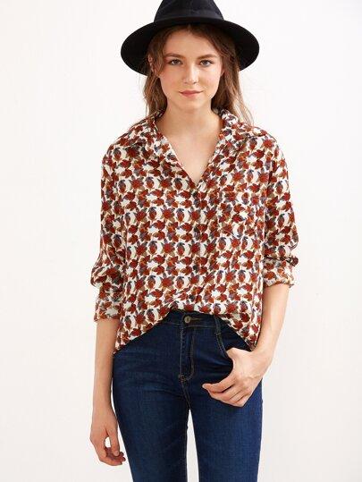 Multicolor Leaf Print Curved Hem Shirt