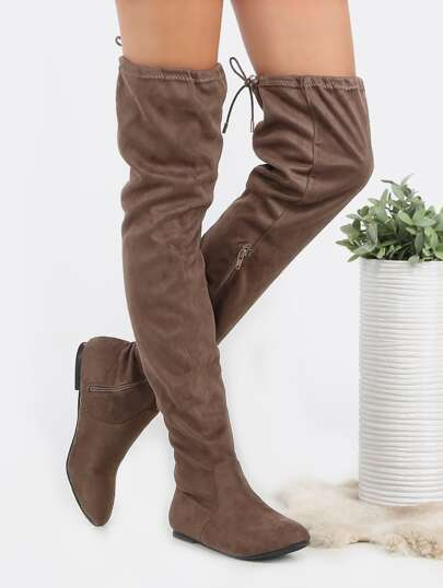 Almond Toe Suede Drawstring Boots TAUPE