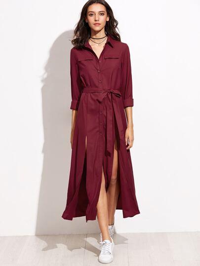 Burgundy Self Tie Double High Slit Shirt Dress