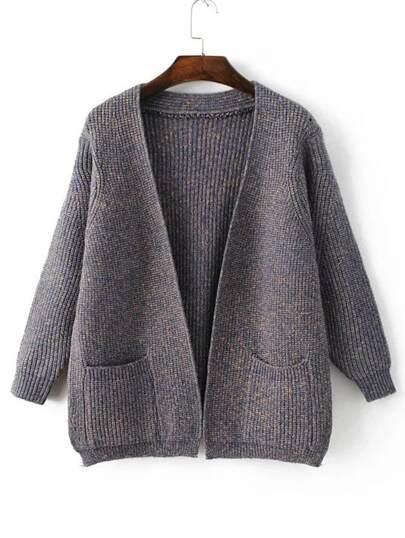 Grey Marled Knit Cardigan With Pockets