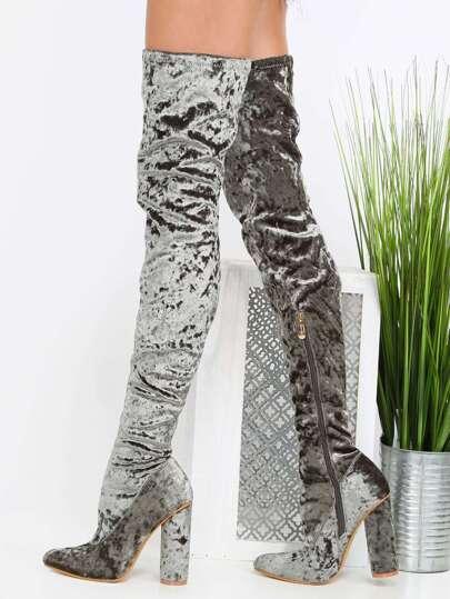 Thigh High Velvet Boots OLIVE