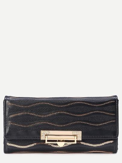 Black Fold Over Flip Lock Embroidered Sequin Wallet