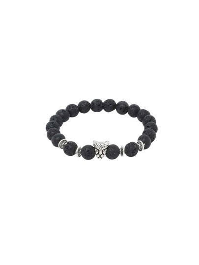 Animal Head Charm And Lava Stone Beaded Bracelet