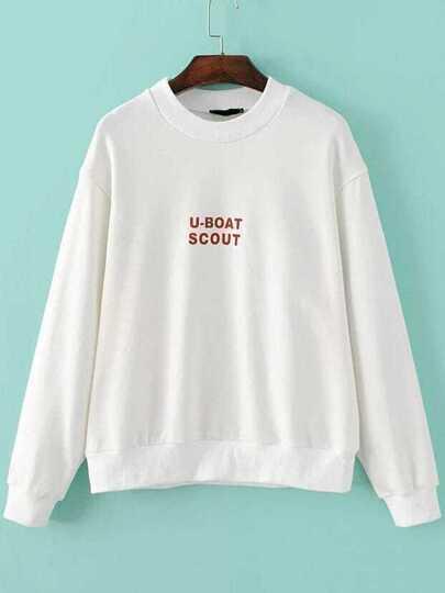 White Letter Print Round Neck Sweatshirt