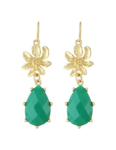 Green Gemstone Flower Drop Earrings