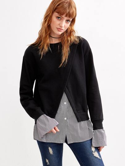 Black Contrast Striped Trim 2 In 1 Sweatshirt