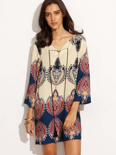 Tribal Print V Neck Three Quarter Sleeve Shift Dress