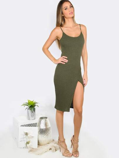 Army Green Spaghetti Strap Split Side Sheath Dress