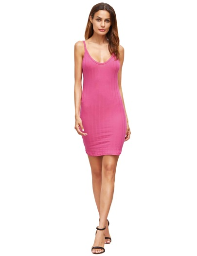 Hot Pink Spaghetti Strap Bodycon Dress