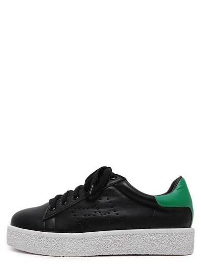 Zapatillas con plataforma de puntera redonda con cordón - negro
