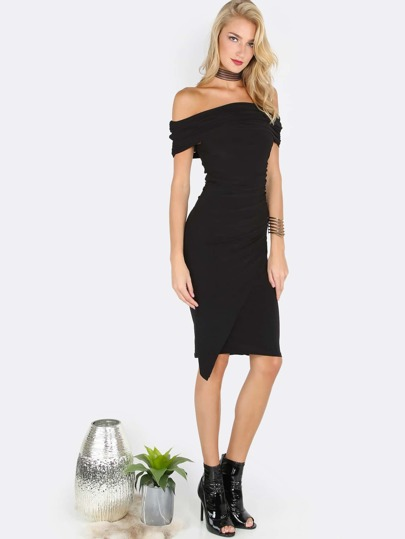 Strapless Scrunched Midi Dress BLACK