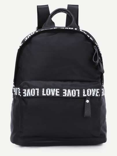 Black Letter Print Nylon Backpack
