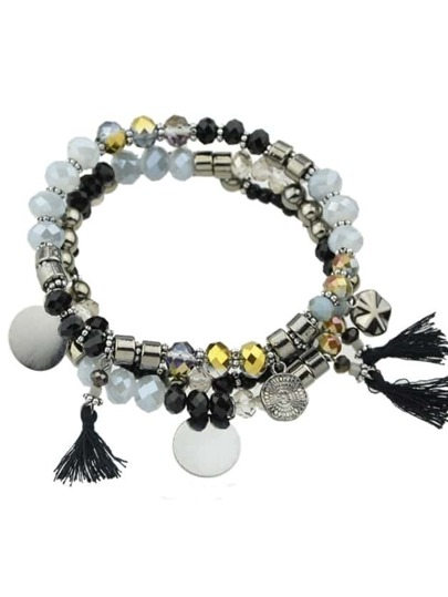 Antique Silver Vintage Style Multilayers Beads Tassel Chain Bracelets