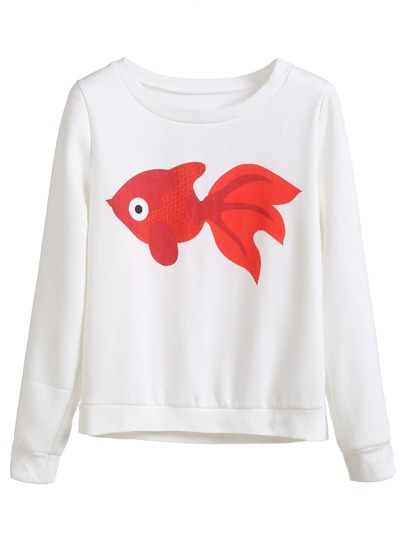 White Goldfish Print Sweatshirt
