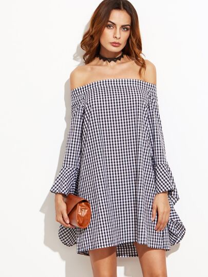Black Gingham Bell Sleeve Off The Shoulder Dress