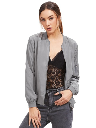 Light Grey Stand Collar Zipper Crop Jacket