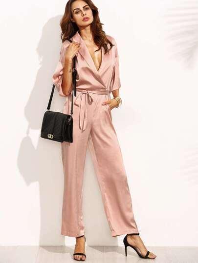 Pink Lapel Half Sleeve Tie Waist Jumpsuit