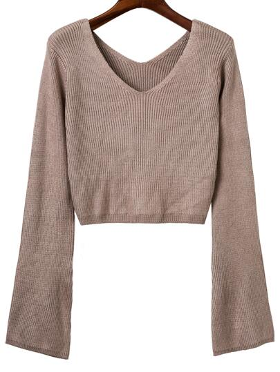 Khaki Double V Back Ribbed Knit Sweater