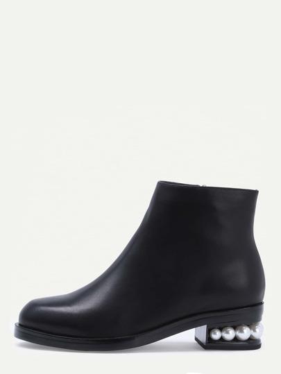 Black Faux Leather Side Zipper Pearl Heel Ankle Boots