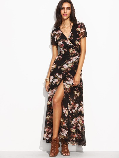 Florals Self Tie Waist High Split Wrap Dress