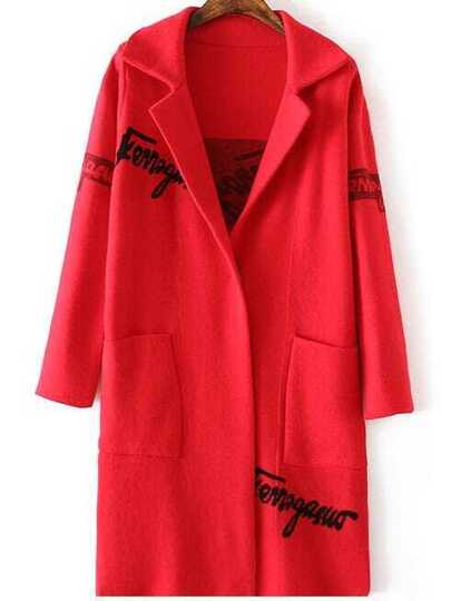 Red Letter Print Shawl Collar Pocket Long Sweater Coat