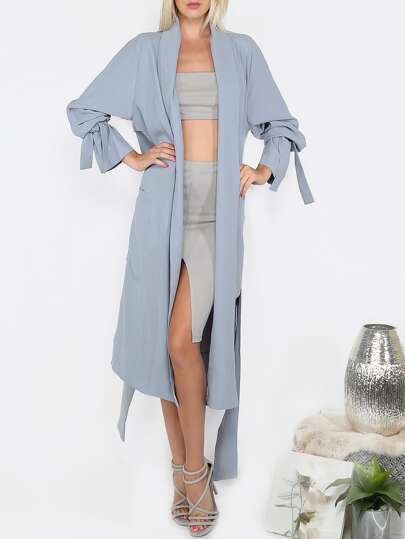 Blue Long Sleeve Cardigan Long Outerwear