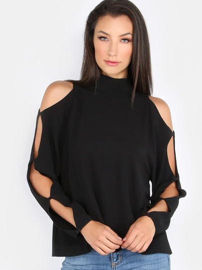 Turtleneck Cut Out Sleeve Top BLACK