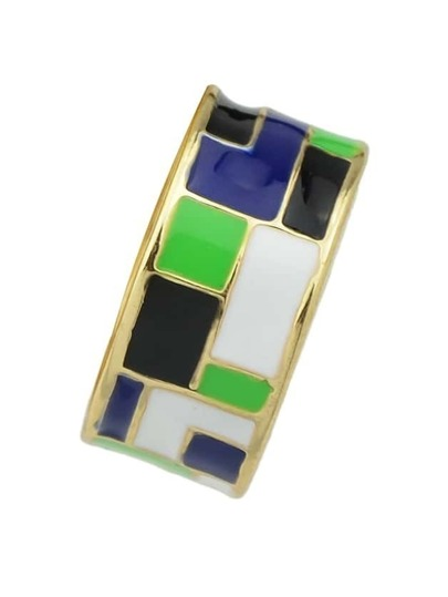 Green Ethnic Enamel Finger Ring