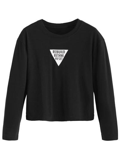 Camiseta hombro caído con estampado de letras - negro