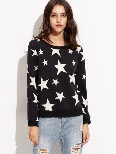 Black Ribbed Trim Star Print Sweatshirt