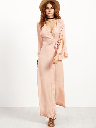 Pink Embroidery Split Sleeve Self Tie Wrap Dress