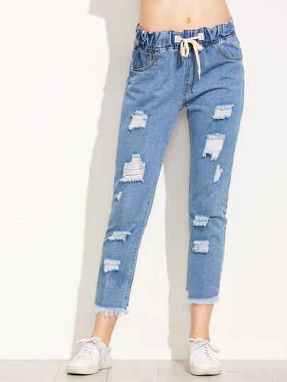 Blue Drawstring Waist Raw Hem Jeans