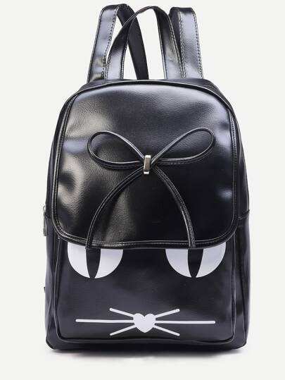 Black Cat Print Bow Flap Backpack