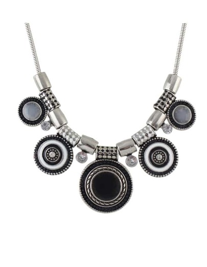 Black Beads Round Statement Necklace