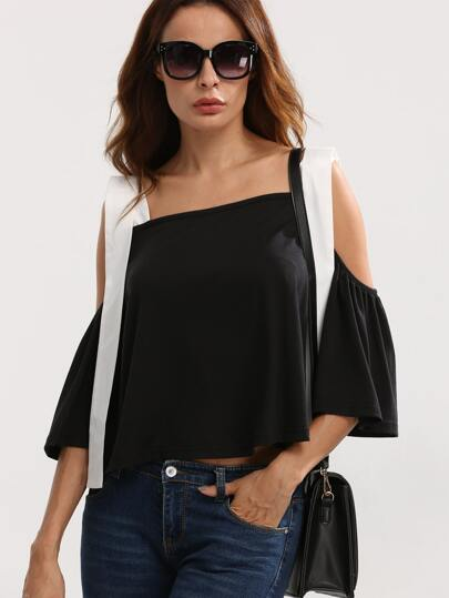 Black Cold Shoulder Backless Blouse
