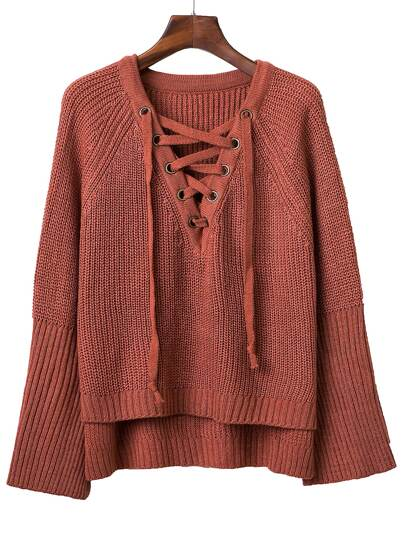 Jersey manga raglán escote V con cordón - rojo ladrillo