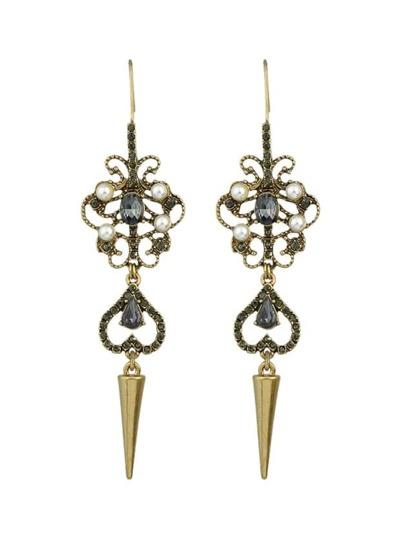 Rhinestone Flower Long Chandelier Earrings
