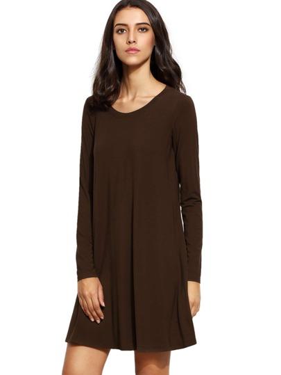 Coffee Oxblood Long Sleeve Casual Babydoll Dress