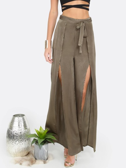 Slit Flow Pants OLIVE