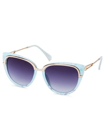 Blue Marble Frame Metal Trim Cat Eye Sunglasses