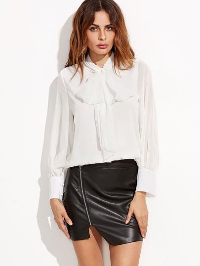 White Tie Neck Lantern Sleeve Chiffon Shirt